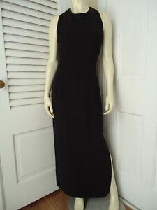 DONNA-MORGAN-Dress-10-Long-Black-Polyester-Gown-Bead-Sequin-Neckline-Sheer-Back