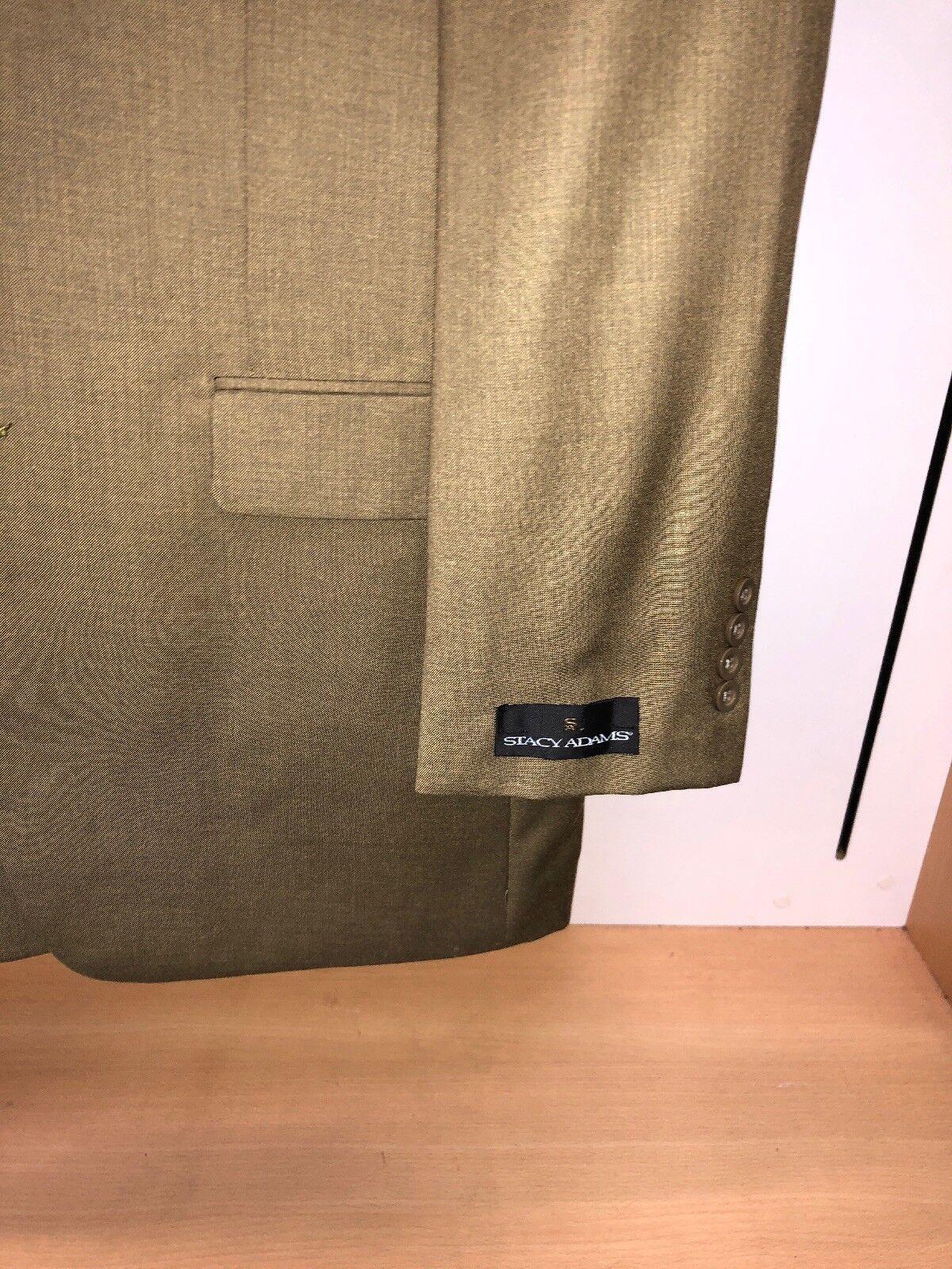 BNWT Stacy Tan ADAMS 38R Tan Stacy Khaki Fashion Solid Harvey Classy Suit 2PC Steve WOW ef8a49