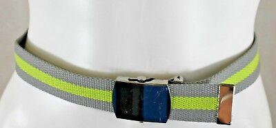 Bnwt Ragazzi Monsoon Accesorize Grigio + Lime Stripe Cucita Cintura Con Argento Col Cattura-mostra Il Titolo Originale