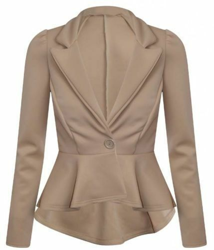 New Womens Crop Frill Shift Slim Fit Peplum Blazer Jacket Coat Ladies Size*ScbJk