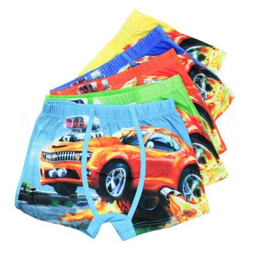 Underwear Boys Kids Cartoon Boxer Cotton Baby Briefs Toddler Children Car 5pcs