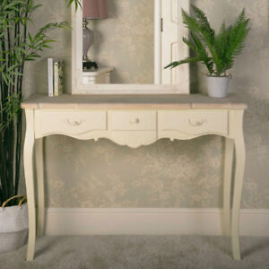 ornate cream wood 3 drawer console table vintage French chic bedroom ...