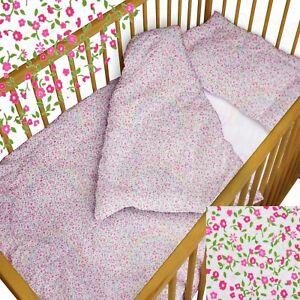 Baby Bedding Set Crib Cot Tiny Flowers Duvet Bumper Moses Basket