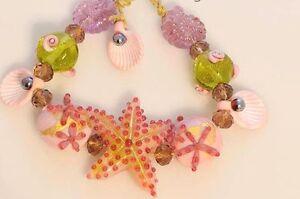 HANDMADE-Artisan-Lampwork-Glass-Beads-Starfish-Seashells-Ammonite-Peach-Pink