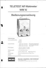 KLEIN + HUMMEL K + H Service Bedienungsanleitung für NF-Wattmeter WM 10