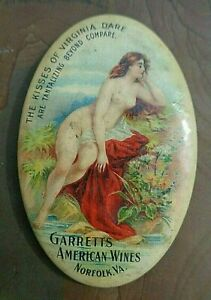 rare old celluloid pocket mirror risque advertising Garrett's American Wines