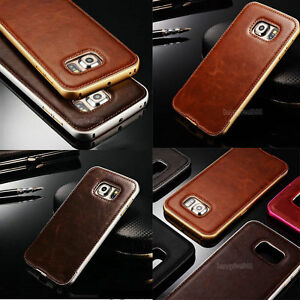Luxury Metal Aluminum Bumper +Leather Back Case Cover For Samsung Galaxy S7 Edge