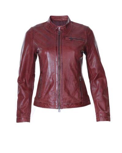 Ladies Womens Genuine Real Leather Suede Vintage Slim Fit Biker Jacket Multi