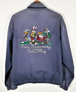Vintage 1994 ACME Looney Tunes Canvas Harrington Jacket Bugs Taz Golf Coat 90s M