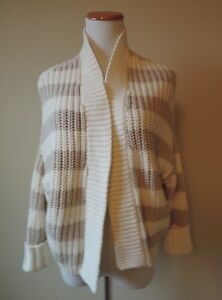 Women-039-s-Express-Tan-amp-Cream-Striped-Cardigan-Sweater-Size-XS