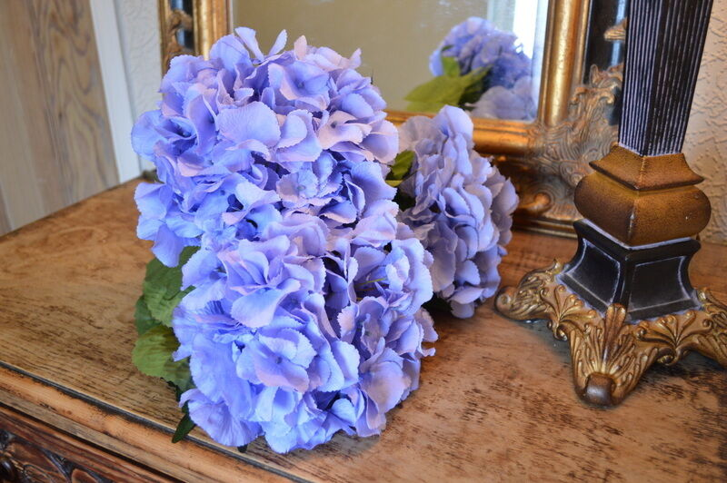 Bunch of 5 Extra Large Light Blau Hydrangeas Artificial Luxury Faux Silk Flowers
