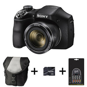 Sony DSC H300 Digital Camera Case 16GB Memory Card 4xAA
