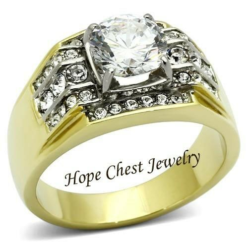 MEN/'S GOLD TONE STAINLESS STEEL 2.10 CT CUBIC ZIRCONIA WEDDING RING SIZE 9,10