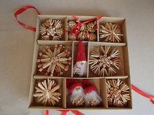 Scandinavian Straw Christmas Ornaments Box of 11-56 Brand New Swedish Norwegian