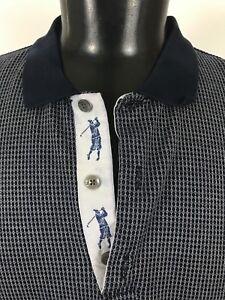 Bobby-Jones-Cotton-Blue-White-SS-Neck-Golf-Trim-sz-XXL-Golf-Polo-Shirt-2XL