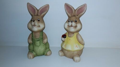 Osterhase Figur Hasenpaar 2 er Set Osterfigur Osterdeko Ton braun grün gelb Set
