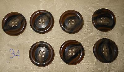 Attento 7 Bottoni Similegno Cm. 3 (34) Vintage Knoepfe Boutons Buttons ^ Prezzo Pazzesco