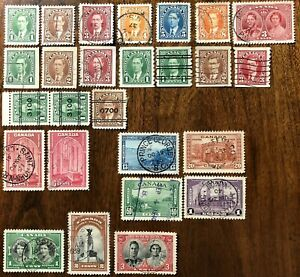 CANADA-1937-1939-s-231-248-KING-GEORGE-VI-26-USED-STAMPS