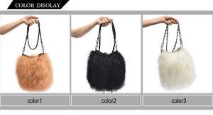 100-Real-Genuine-Mongolian-Lamb-Fur-Lady-Vintage-Handbag-Purse-Shoulder-Bag