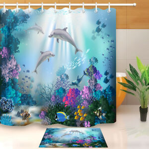 Image Is Loading Underwater World Dolphins Shower Curtain Bathroom Waterproof Fabric