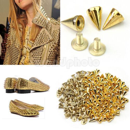 100 PCS Trendy 10MM Gold Spots Cone Screw Metal Studs Rivet Bullet Spikes