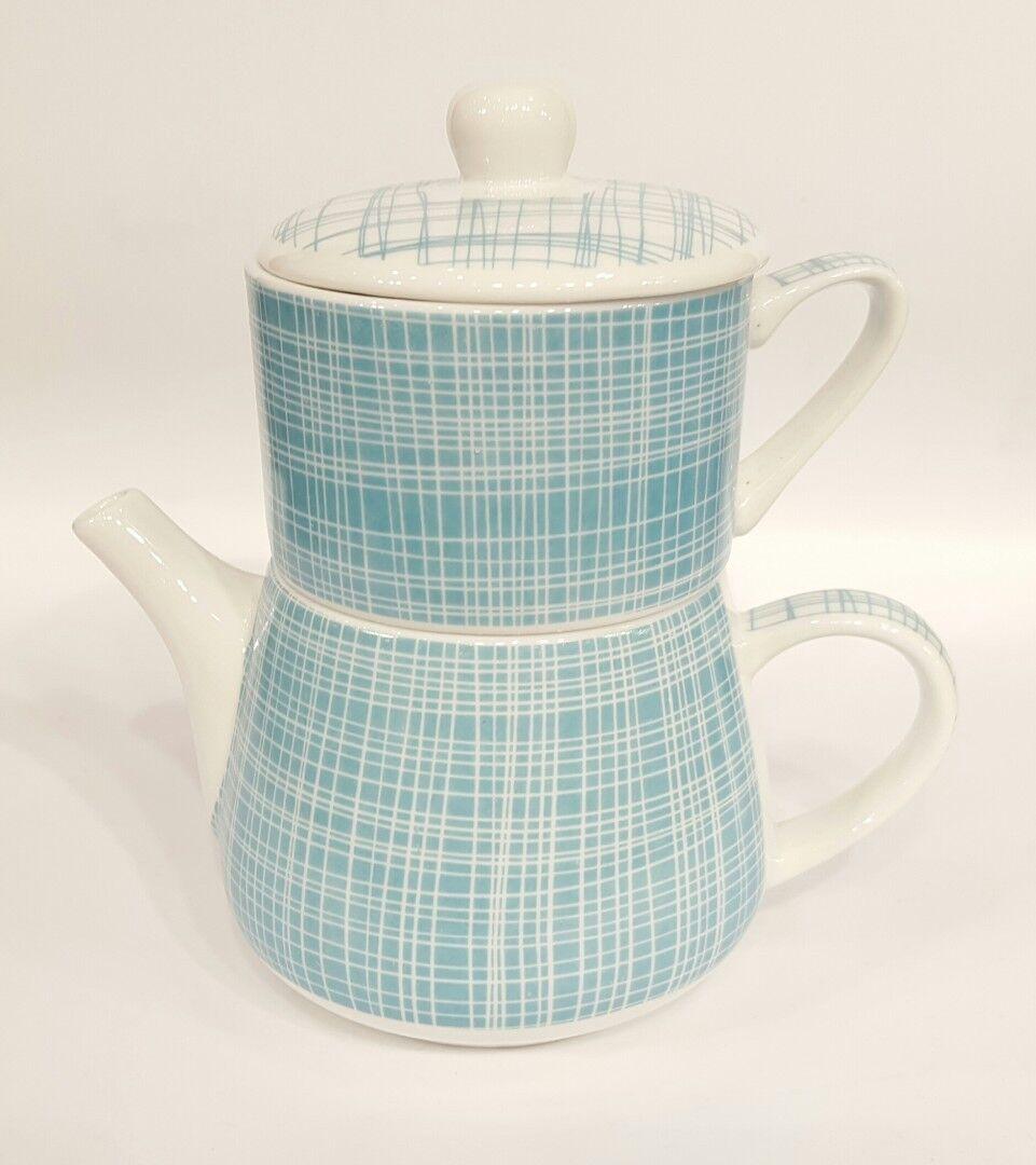Tea for une   Nippon   porcelaine turquoise avec Blanc Lignes   LIGNES