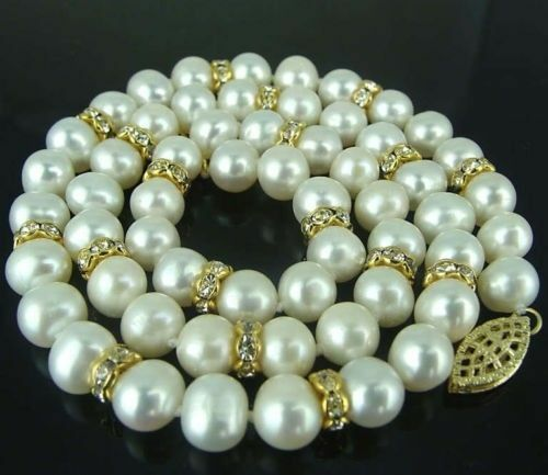 """new 18/"""" AAA 9-10 MM SOUTH SEA NATURAL White PEARL NECKLACE 14K GOLD  CLASP"""