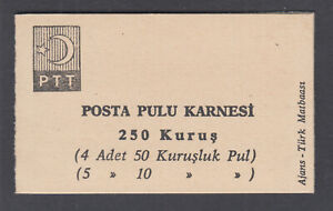 Turkey-Sc-1756b-Intact-Booklet-1967-250k-Booklet-1-pane-of-9-label-VF