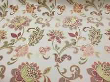 """Antique Gold """"Bella Figura"""" Jacquard Floral Curtaining/Upholstery Fabric."""
