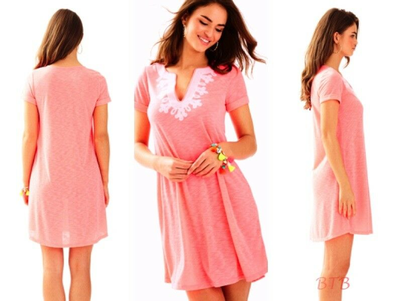 NWT Lilly Pulitzer Maisy T-Shirt Dress Coral Coral Coral Reef Embroidered S,M 7a7c5a
