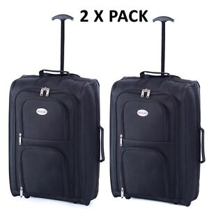 2 X Ryanair Easyjet Carryon Cabin Approved Hand Luggage Trolley Suitcase Case
