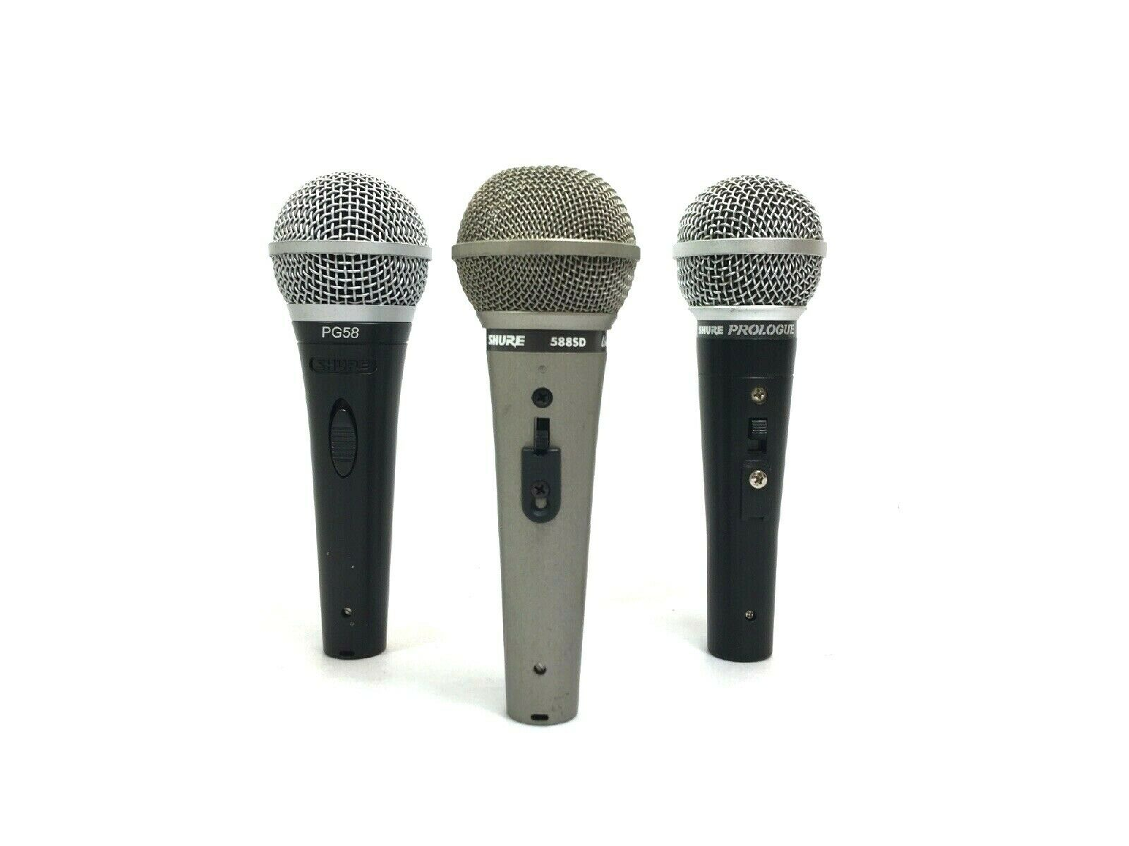 Lot of 3 Shure Microphone  588SD & PG58 & Prologue 14L LO Z Dynamic  5837