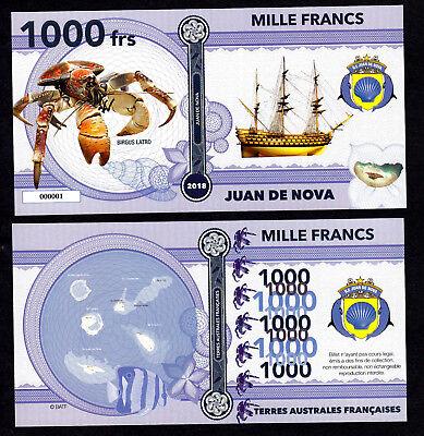 Ile Juan De Nova ● Taaf / Colonie ● Billet Polymer 1000 Francs ★ N.serie 000001 Hoge Veiligheid