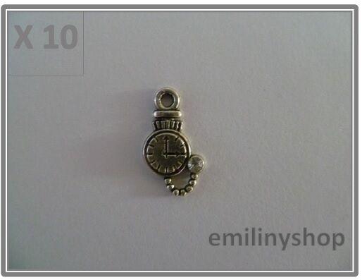 lot de 10 breloques charms pendentifs perles scrapbooking horloge pendule NEUF