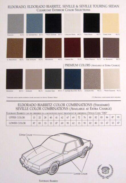 1989 Cadillac Color Paint Chip Brochure, Eldorado Biarritz, Seville 89