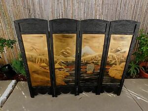 Antique-Japanese-Screen-Carved-Hardwood-4-Panel-Folding-Hand-Painted-Asian