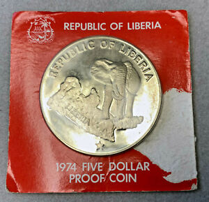 Liberia 5 Silver Proof Coin Sealed