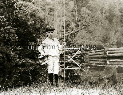 EARLY ANTIQUE REPRO 8 X 10 PHOTOGRAPH YOUNG MAN FISHING ROD CREEL
