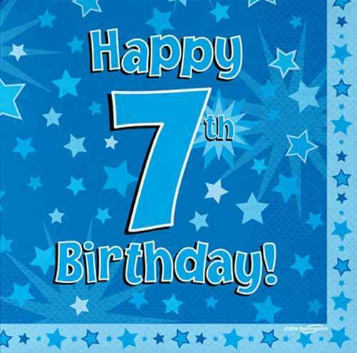 16 Pack Blue Boy 7 TODAY Happy 7th Birthday Stars Luncheon Paper Napkin 3ply