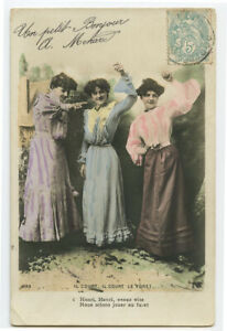 c1904-Glamour-FRENCH-LADY-TRIO-Fashion-undivided-back-photo-postcard
