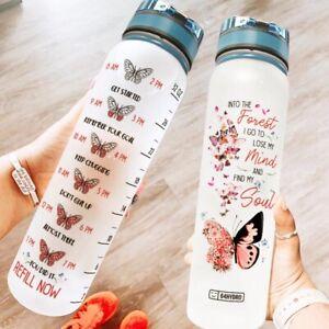Dandelion Butterfly Motivational Water Tracker Bottle 32 Oz Fruit Infusion