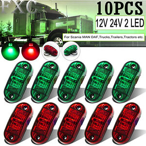 10-X-10-30V-2-LED-Superflux-Side-Marker-Red-Green-Fender-Truck-Trailer-Boat-RV