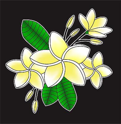 Tropical Plumeria Flower Cluster Vinyl Decal Sticker for Car Truck Window Decor
