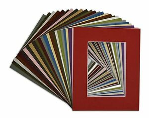 Set-of-25-8x10-MIXED-COLORS-White-Core-Picture-Mats-for-5x7-Photo