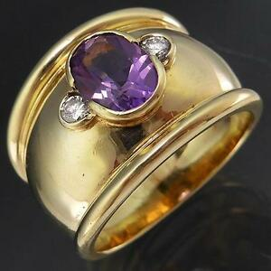 HEAVY-BOLD-amp-WIDE-Band-Solid-9k-YELLOW-GOLD-AMETHYST-amp-DIAMOND-RING-10-4gm-Sz-O