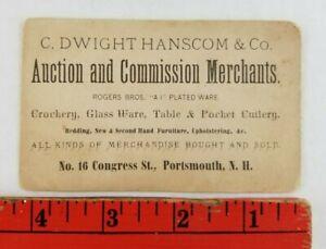 Vintage 1900's Hanscom Auction Merchants Portsmouth New Hampshire Business Card