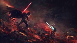 Poster 42x24 cm Star Wars Darth Vader Vs Ahsoka Tano