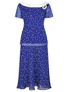 ex-Jacques-Vert-Top-amp-Skirt-Jacques-Vert-Blue-Spotted-Layer-Skirt-amp-Top-Suit