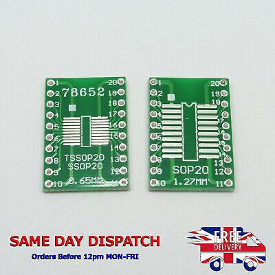 5x SOP20 S020 SOIC 20 TSSOP 20 MSOP 20 a DIP adaptador convertidor Board SMD IC Bre..