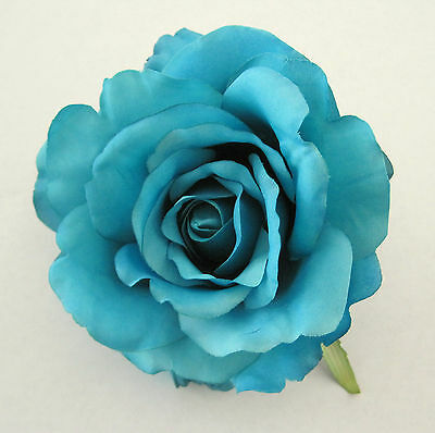 "4.5""Aquamarine,Turquoise Rose,Silk Flower Brooch Pin,Corsage,Hat,Rockabilly"